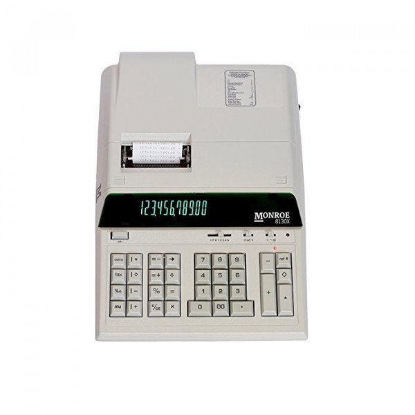 Monroe 8130X 12-Digit Print/Display Heavy-Duty Calculator With Optional Supplies and Foam Elevation Wedge (Calculator with Paper, Ribbons and Foam Wedge, Ivory)