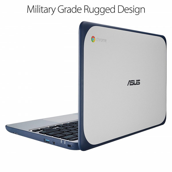 "ASUS Chromebook C202SA-YS02 11.6"" Ruggedized and Water Resistant Design with 180 Degree (Intel Celeron 4 GB, 16GB eMMC, Dark Blue, Silver) (Refurbished)"
