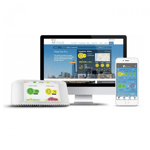 IQAir [AirVisual Pro Air Quality Monitor] Compare Indoor & Outdoor